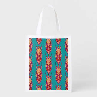 Vintage ethnic tribal aztec ornament reusable grocery bag
