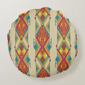 Vintage ethnic tribal aztec ornament round pillow