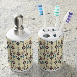 Vintage ethnic tribal aztec ornament soap dispenser and toothbrush holder