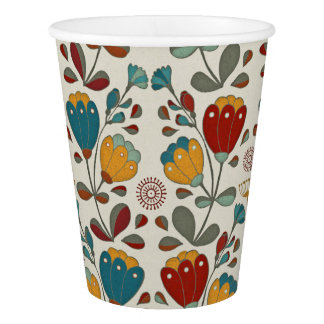Vintage Ethno Flowers in red, blue and yellow Paper Cup