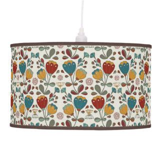 Vintage Ethno Flowers in red, blue and yellow Pendant Lamp