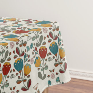 Vintage Ethno Flowers in red, blue and yellow Tablecloth