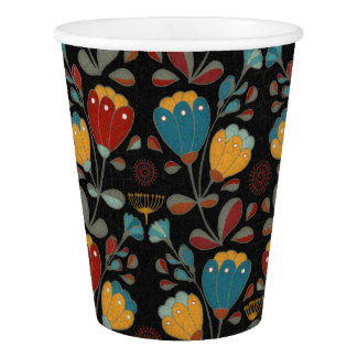 Vintage Ethno Flowers in red, blue, yellow, black Paper Cup