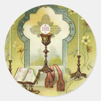 Vintage Eucharist Altar Chalice Candles Missal Classic Round Sticker