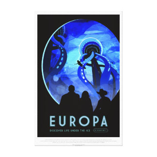 Vintage Europa Life Under the Ice Space Travel Canvas Print