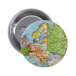 Vintage Europe 20th Century General Map 2 Inch Round Button