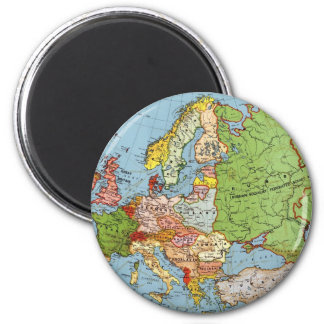 Vintage Europe 20th Century General Map 2 Inch Round Magnet