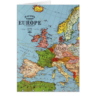 Vintage Europe 20th Century General Map Card
