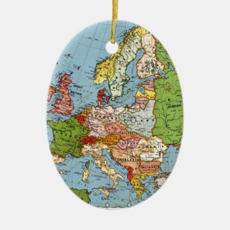 Vintage Europe 20th Century General Map Ceramic Oval Ornament