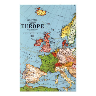 Vintage Europe 20th Century General Map Customized Stationery