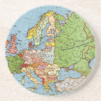 Vintage Europe 20th Century General Map Drink Coasters