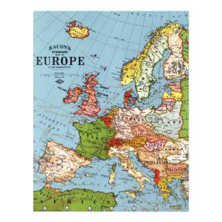 Vintage Europe 20th Century General Map Letterhead Design