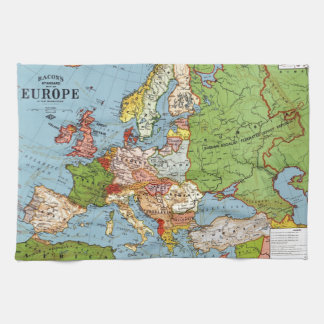 Vintage Europe 20th Century General Map Towels