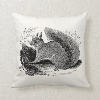 Vintage European Squirrel 1800s Squirrels Throw Pillow