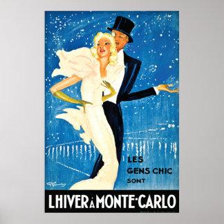 Vintage European Winter in Monte Carlo Travel Poster