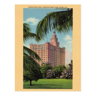 Vintage Everglades Hotel Miami Florida Postcard
