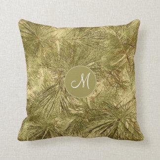 vintage evergreen pine branches macro w monogram throw pillow