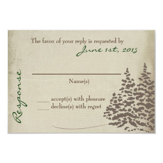 "Vintage Evergreen Wedding Response Card with back 3.5"" X 5"" Invitation Card"
