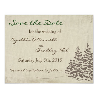 Vintage Evergreen Wedding Save the Date Card