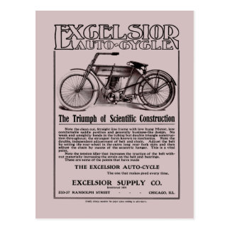 Vintage Excelsior auto cycle ad Postcard