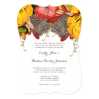 Vintage Exotic and Romantic Red and Yellow Floral Card