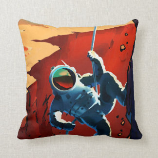 "Vintage ""Explorers Wanted"" Mars Recruitment Throw Pillow"