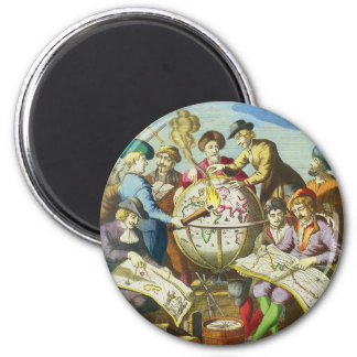 Vintage Explorers with Antique Globe Map, 1542 2 Inch Round Magnet