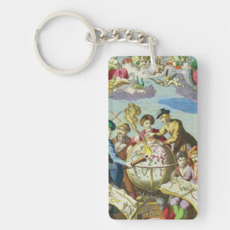 Vintage Explorers with Antique Globe Map, 1542 Double-Sided Rectangular Acrylic Keychain