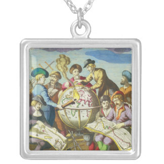 Vintage Explorers with Antique Globe Map, 1542 Silver Plated Necklace