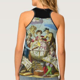 Vintage Explorers with Antique Globe Map, 1542 Tank Top