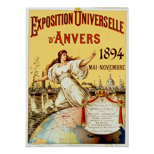 Vintage Exposition Universelle d'Anvers 1894 Poster