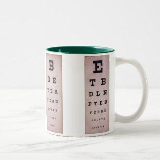 Vintage Eye Charts Two-Tone Coffee Mug