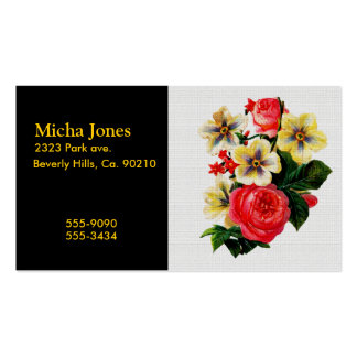 Vintage Fabric Look Roses & Flowers Business Cards