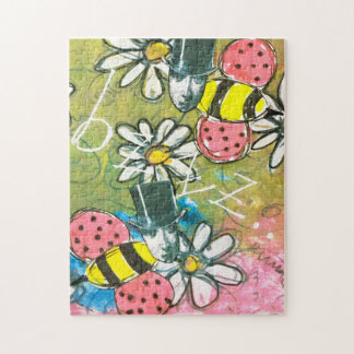 Vintage Faces Bees Whimsical Collage Art Colorful Jigsaw Puzzle