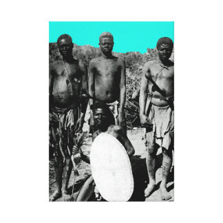 Vintage Faces of Africa Watercolor Black and White Canvas Print