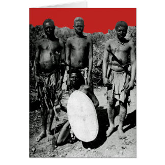 Vintage Faces of Africa Watercolor Black and White Card