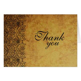 Vintage faded black gold damask wedding thank you card