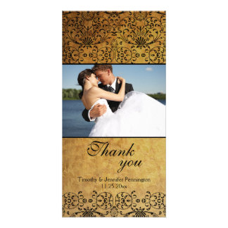 Vintage faded black gold damask wedding thank you photo card