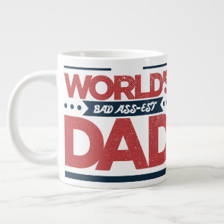 Vintage Faded Funny World's Bad Ass-est Dad Large Coffee Mug