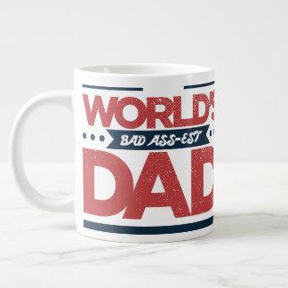 Vintage Faded Funny World's Bad Ass-est Dad Large Coffee Mug