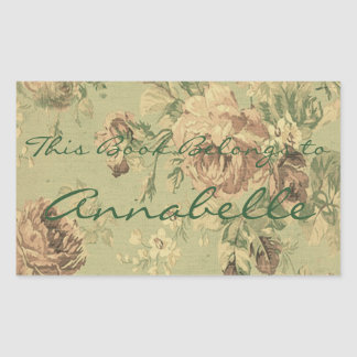 Vintage Faded Roses Personalized Bookplate Sticker
