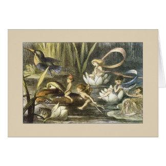 Vintage Fairies Sailing on a Stream, Card