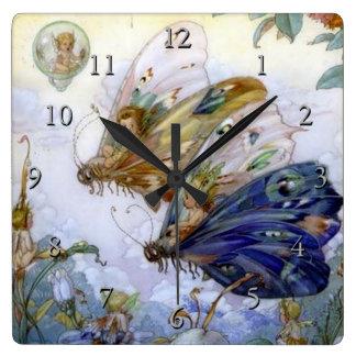 Vintage Fairy Aviators Square Wall Clock