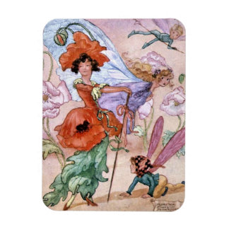 Vintage - Fairy in Fashionable Pose, Magnet