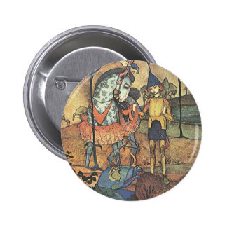 Vintage Fairy Tale, A Brave Knight and Dragon 2 Inch Round Button
