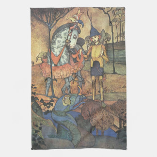 Vintage Fairy Tale, A Brave Knight and Dragon Kitchen Towel