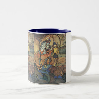Vintage Fairy Tale, A Brave Knight and Dragon Two-Tone Coffee Mug
