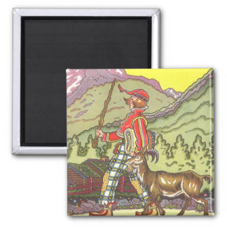 Vintage Fairy Tale, Boy and the North Wind, Hauman Square Magnet