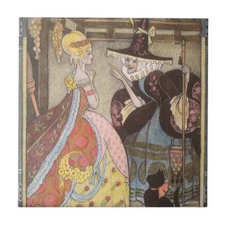 Vintage Fairy Tale, Cinderella and Fairy Godmother Ceramic Tile