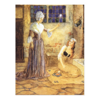 Vintage Fairy Tale, Cinderella and Fairy Godmother Postcard